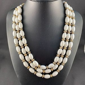 Vintage Monet three strand white bead necklace
